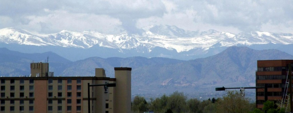 The Rockies viewed from the Assumption Cathedral, Glendale, Denver